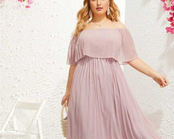 Pleated-stomach-hiding-dresses-for-plus-size